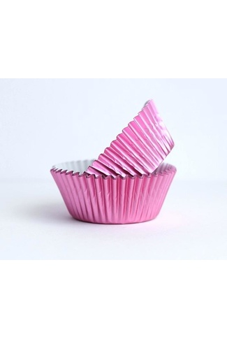 #408 PINK FOIL CUPCAKE CASES approx 12