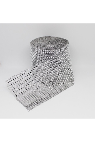 SILVER MESH DIAMANTE RIBBON x 1m