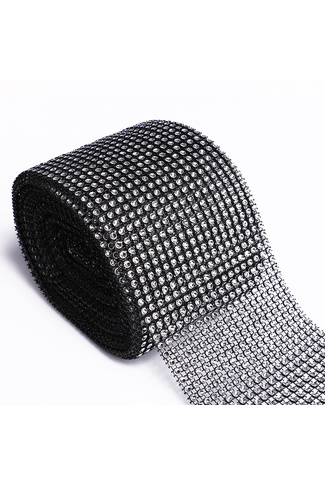 BLACK MESH DIAMANTE RIBBON x 1m