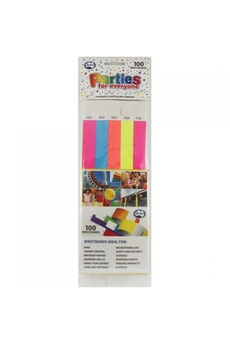 WRISTBANDS MIXED COLOURS 100pk
