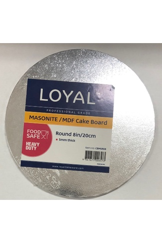 "8"" SILVER ROUND MASONITE CAKE BOARD 5mm"
