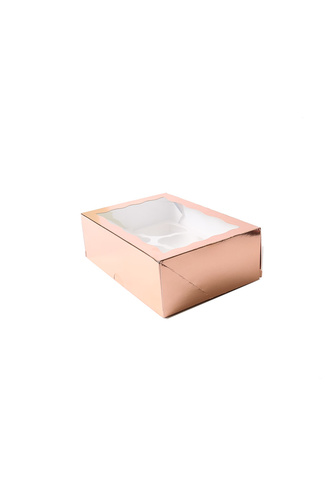 ROSE GOLD 6 CUPCAKE BOX WITH HOLDER