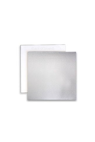 "10"" SILVER SQUARE CAKE BOARD MASONITE 5mm"