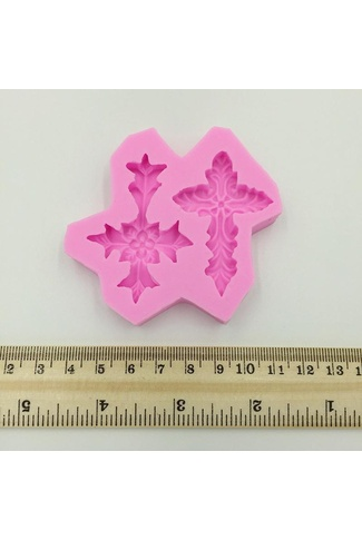 SILICONE CROSS FANCY MOULD x 2