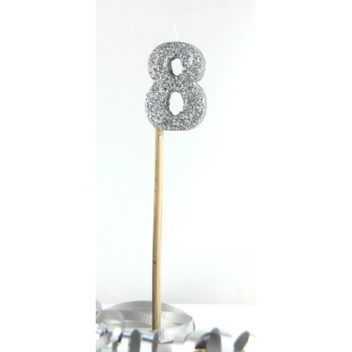 GOLD GLITTER LONG STICK CANDLE #8 BIRTHDAY PARTY SUPPLIES